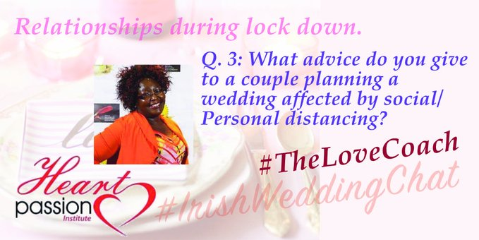 Q3; What advice do you give to a couple planning a wedding affected by social / personal distancing?