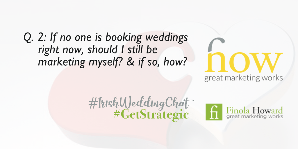 Q2: If no one is booking weddings right now, should I still be marketing myself? And if so, how? How Great Marketing Works | Irish Wedding Chat | Twitter Q & A