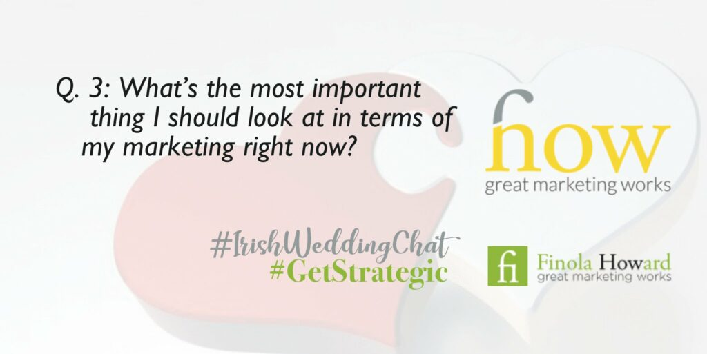 Q3: What's the most important thing I should look at in terms of my marketing right now?  How Great Marketing Works | Irish Wedding Chat | Twitter Q & A