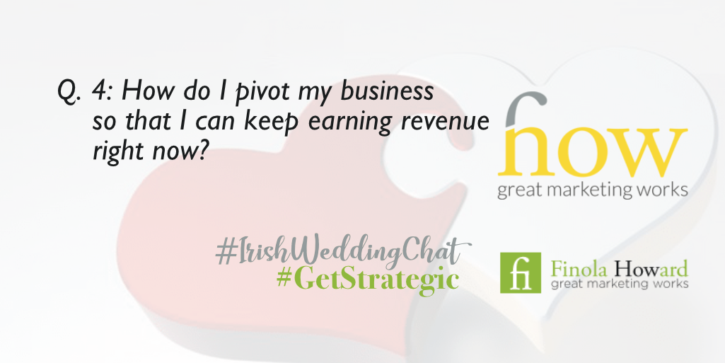 Q4: How do I pivot my business so that I can keep earning revenue right now? How Great Marketing Works | Irish Wedding Chat | Twitter Q & A